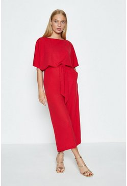 Red Cape Top Wide Leg Jumpsuit