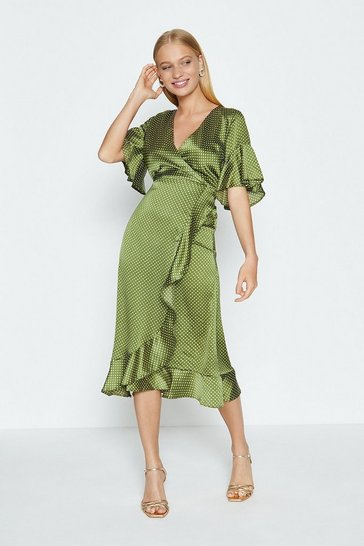 Olive Satin Spot Wrap Dress