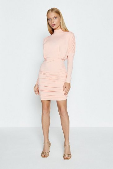 Peach Jersey Ruched Skirt Mini Dress