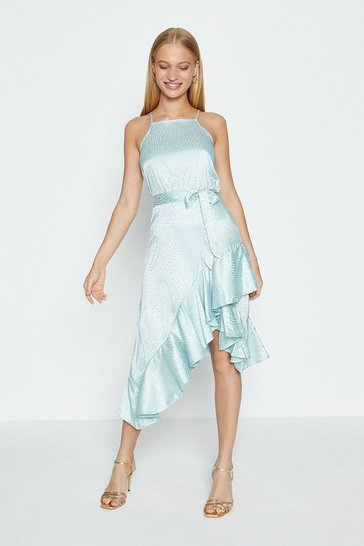 Pale blue Asymmetric Ruffle Hem Midi Dress