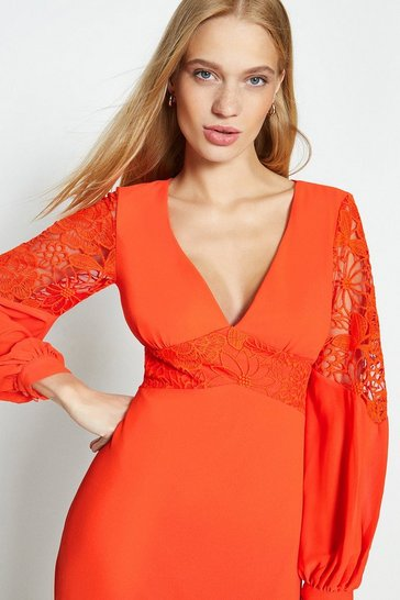 Orange Lace Trim Insert Maxi Dress