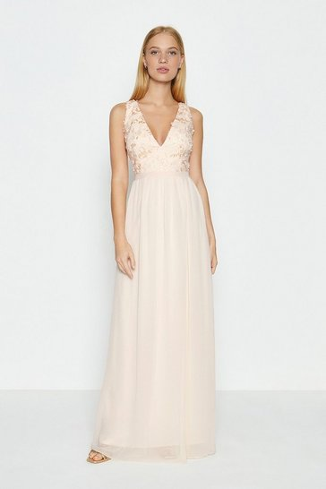 Blush 3D Bodice V Neck Maxi Dress