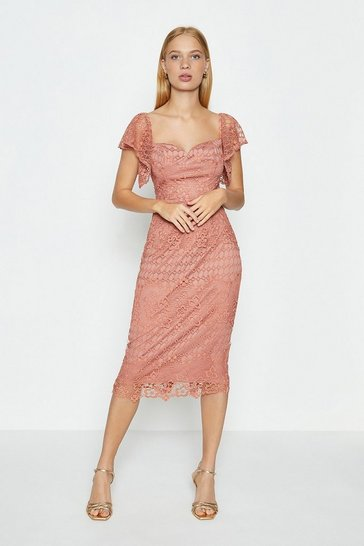 Rose Lace Sweetheart Neck Bardot Dress