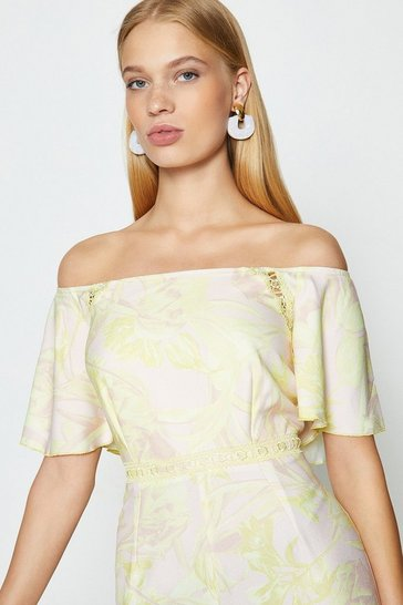 Lemon Printed Bardot Jumpsuit