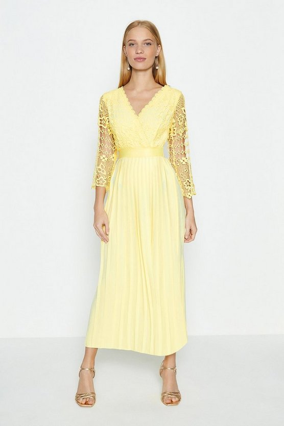 Lemon Lace Bodice Pleated Skirt Dress