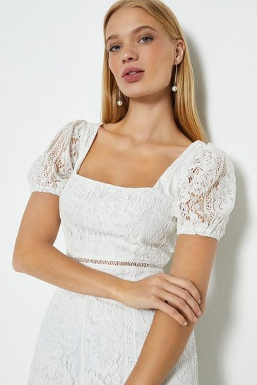 Ivory Lace Square Neck Dress