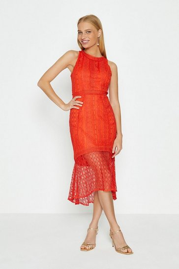 Orange High Low Hem Lace Dress