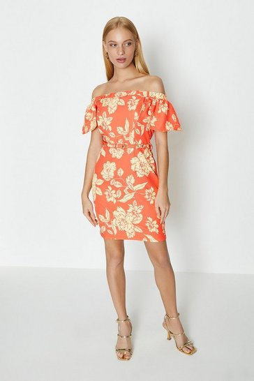 Orange Bardot Printed Puff Sleeve Dress