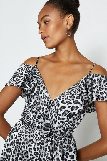 Animal Cold Shoulder Jumpsuit