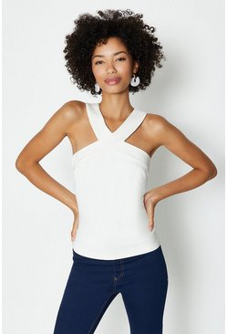 Ivory Cross Front Neck Ponte Top