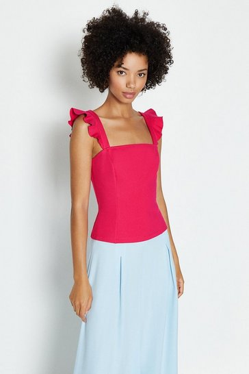 Hot pink Square Neck Ruffle Sleeve Ponte Top