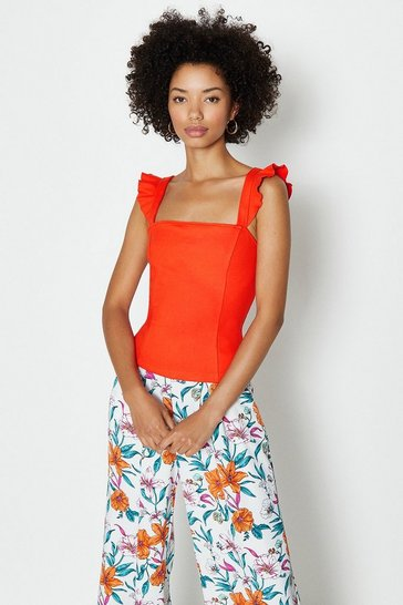 Orange Square Neck Ruffle Sleeve Ponte Top