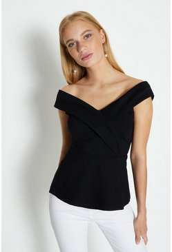 Black Bardot V Neck Ponte Top