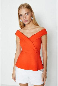 Orange Bardot V Neck Ponte Top