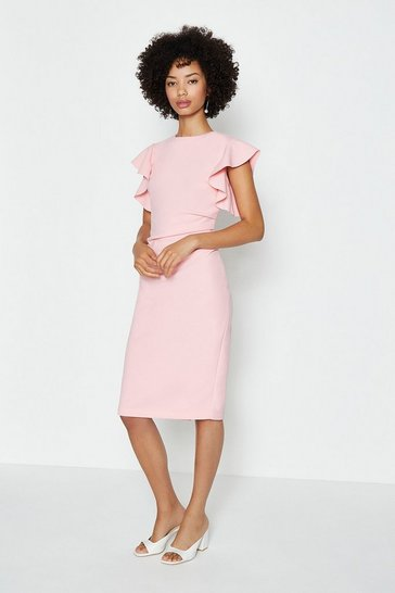 Blush Ruffle Sleeve Ruched Waist Dress