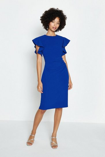 Cobalt Ruffle Sleeve Ruched Waist Dress