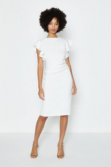 Ivory Ruffle Sleeve Ruched Waist Dress