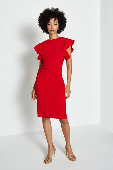 Red Ruffle Sleeve Ruched Waist Dress