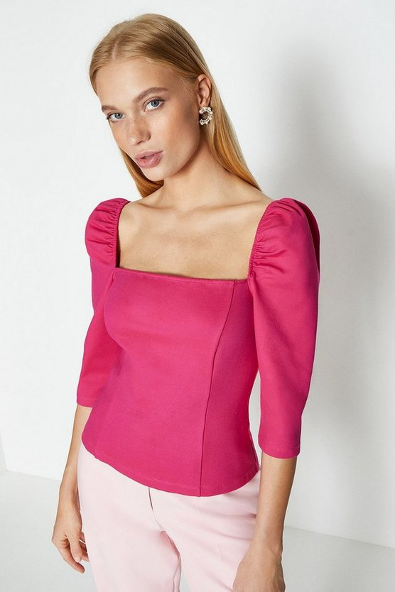 Hot pink Square Neck Puff Sleeve Top