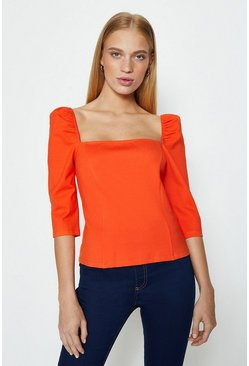 Orange Square Neck Puff Sleeve Top