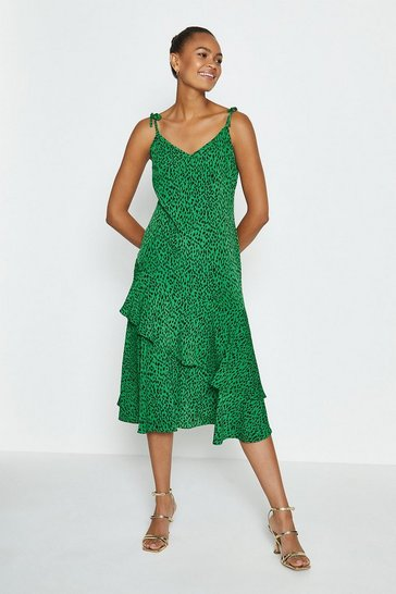 Green Tie Shoulder Midi Dress