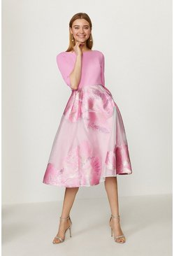 Pink Clipped Jacquard Full Midi Dress