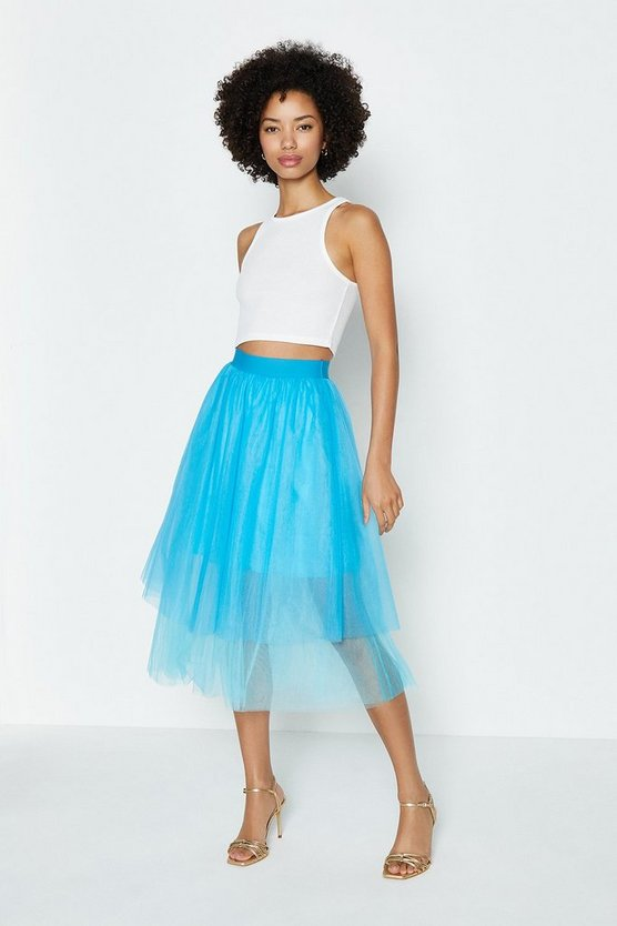 Blue Tiered Tulle Skirt