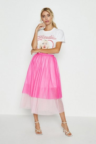 Pink Tiered Tulle Skirt