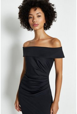 Black Bardot Side Ruched Dress