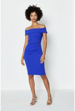 Cobalt Bardot Side Ruched Dress
