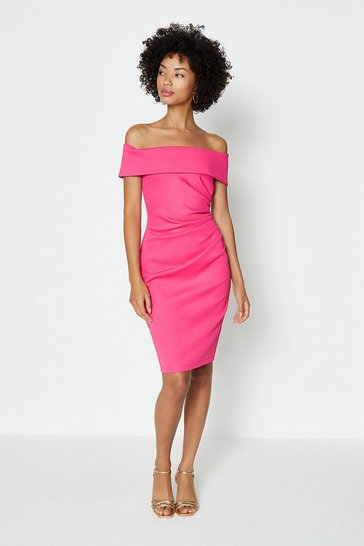 Hot pink Bardot Side Ruched Dress