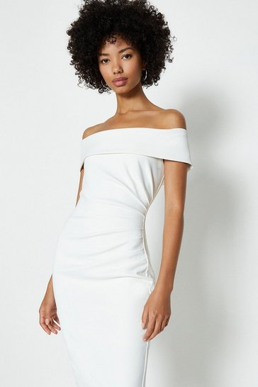 Ivory Bardot Side Ruched Dress