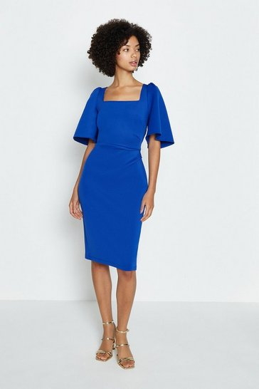 Cobalt Square Neck Flare Sleeve Dress