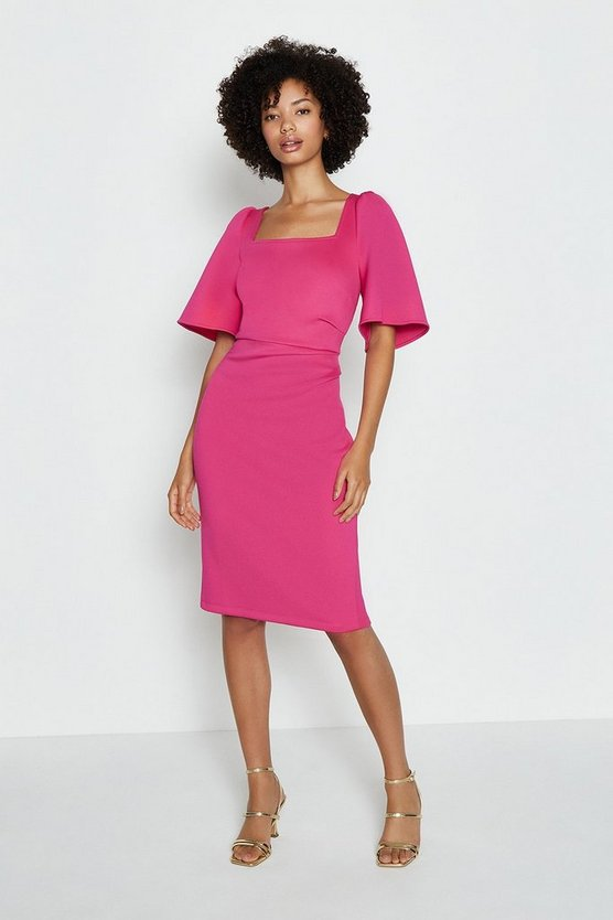 Hot pink Square Neck Flare Sleeve Dress