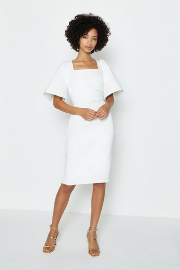 Ivory Square Neck Flare Sleeve Dress
