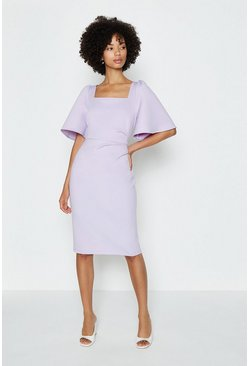 Lilac Square Neck Flare Sleeve Dress