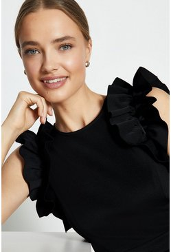 Black Ruffle Sleeve And Hem Dress