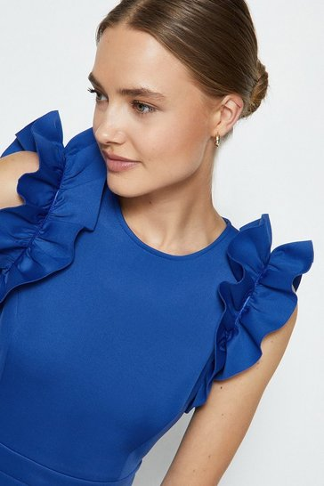Cobalt Ruffle Sleeve And Hem Dress