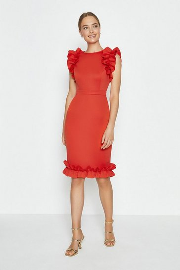 Red Ruffle Sleeve And Hem Dress