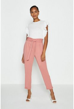 Dusky pink Paper Bag Tailored Trousers