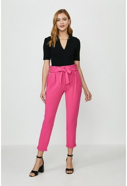 Hot pink Paper Bag Tailored Trousers