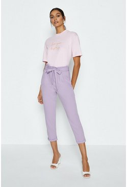 Lilac Paper Bag Tailored Trousers