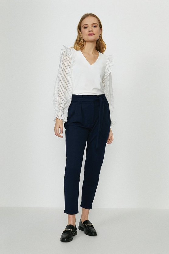 Navy Paper Bag Tailored Trousers