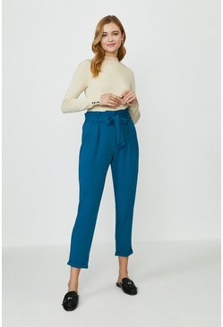 Teal Paper Bag Tailored Trousers