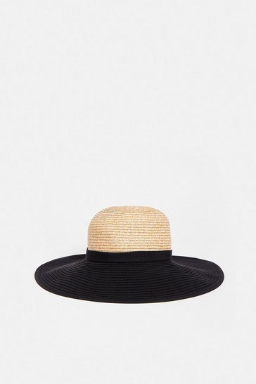 Mono Colour Blocked Wide Brimmed Hat