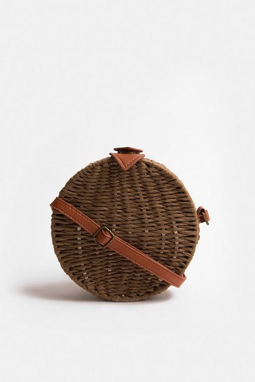 Tan Rattan Round Shoulder Strap Bag