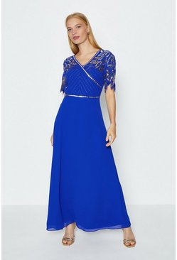 Cobalt Embellished Shoulder Maxi Dress