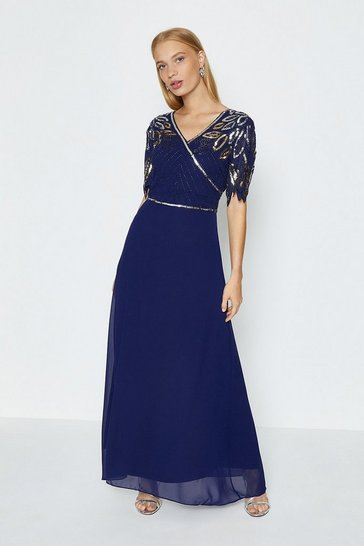 Navy Embellished Shoulder Maxi Dress