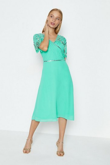 Mint Embellished Shoulder Wrap Bodice Dress