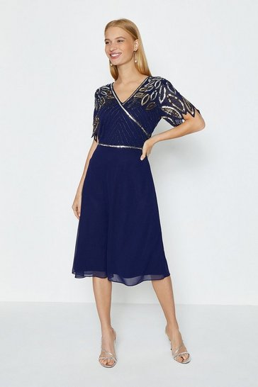 Navy Embellished Shoulder Wrap Bodice Dress